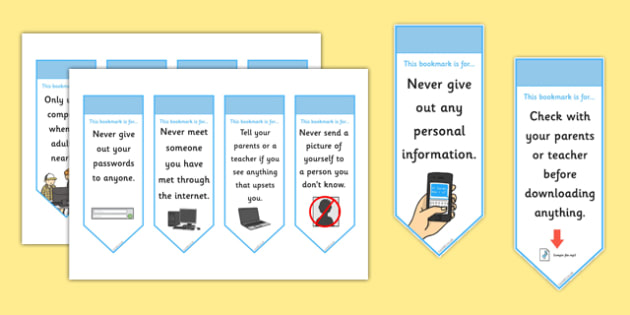 Online Internet Safety Bookmarks - bookmark, bookmark template, book mark, internet safety, I can use the internet safely, staying safe online, internet safety bookmark, page marker, reward, achievement, reading, reading award, gift, present