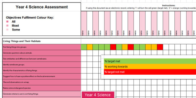 Y4 Science Assessment Spreadsheet