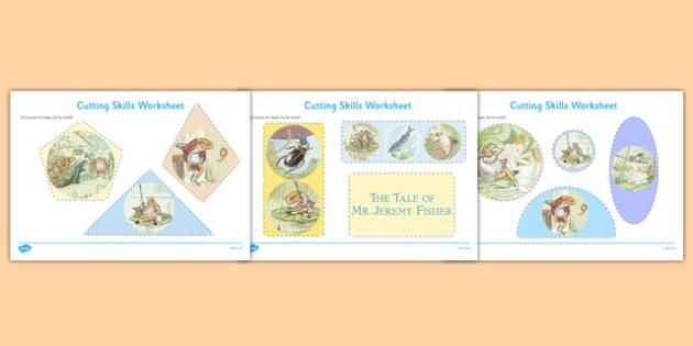 Beatrix Potter - The Tale of Mr Jeremy Fisher Cutting Skills Worksheet - beatrix potter, mr jeremy fisher