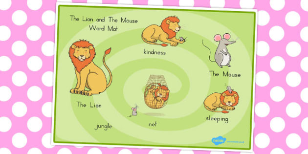 The Lion and the Mouse Word Mat - australia, lion, mouse, words