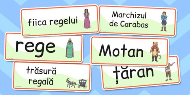 Motanul Incaltat, cartonase cu imagini si cuvinte din poveste, Romanian