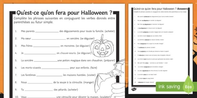 Halloween Simple Future Tense Gap Fill Activity Sheet-French, worksheet