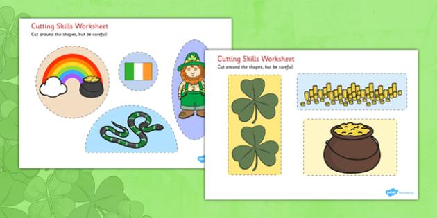 St Patricks Day Cutting Skills Worksheet - cutting, skills, sheet