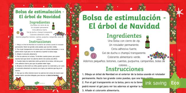 Bolsa de estimulación sensorial: El árbol de Navidad - Navideño, tocar, sentidos, reyes, adornos,