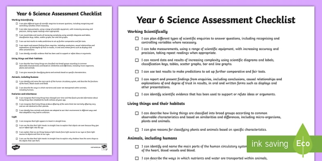 2014 Curriculum Year 6 Science Assessment Individual Checklist