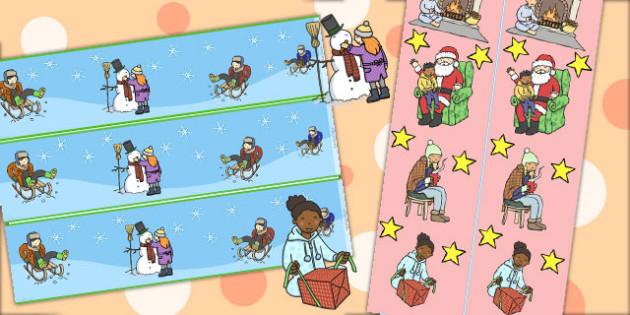 Winter Activities Display Borders - winter, display, borders