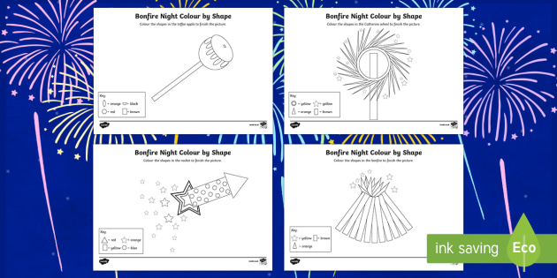 Bonfire Night Colour by 2D Shape Activity Sheets