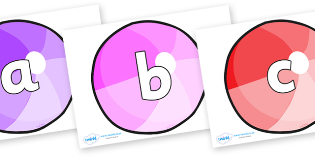 Phoneme Set on Beach Balls - Phoneme set, phonemes, phoneme, Letters and Sounds, DfES, display, Phase 1, Phase 2, Phase 3, Phase 5, Foundation, Literacy