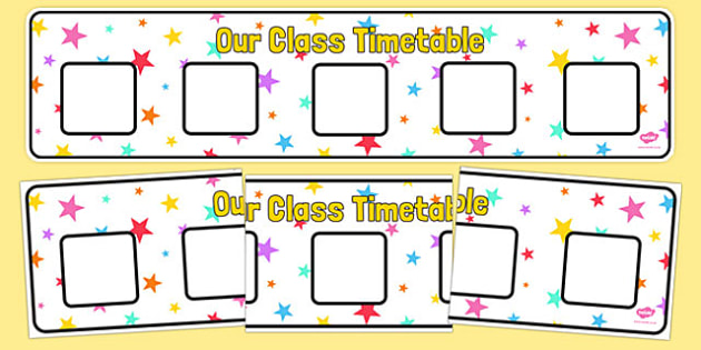 Multicoloured Stars Themed Horizontal Visual Timetable Display - multicoloured, stars, horizontal, visual timetable, display