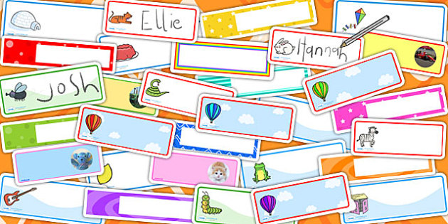 Drawer Peg Name Labels Variety Pack - labels, names, variety