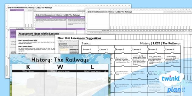 PlanIt - History LKS2 - The Railways Unit Assessment Pack - assessment, record, data, baseline, nation, pack, objectives, criteria, success, national, curriculum, industry, change, revolution, rocket, george, stephenson, stockton, darlington, transpo
