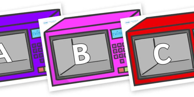 A-Z Alphabet on Microwaves - A-Z, A4, display, Alphabet frieze, Display letters, Letter posters, A-Z letters, Alphabet flashcards