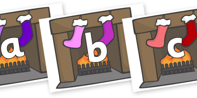 Phoneme Set on Stockings & Fireplace - Phoneme set, phonemes, phoneme, Letters and Sounds, DfES, display, Phase 1, Phase 2, Phase 3, Phase 5, Foundation, Literacy