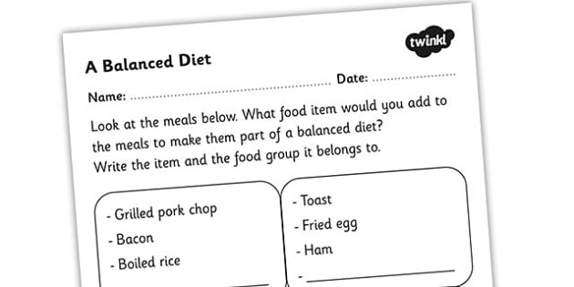Worksheets Eating Healthy Worksheets balanced diet worksheet healthy eating food groups