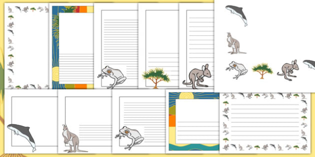 The Kangaroo and the Porpoise Page Borders Pack - australia, dreamtime, story, aboriginal, the kangaroo and the porpoise,