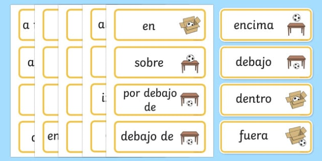 Positional Vocabulary Cards Spanish - spanish, Position, Positional, Positional Language, Position Words, up, down, inside, outside, next to, North, South, East, West