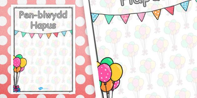 Welsh Happy Birthday Posters 2xA4 - poster, celebrate, birth
