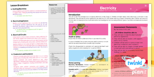 PlanIt - Science Year 4 - Electricity Planning Overview