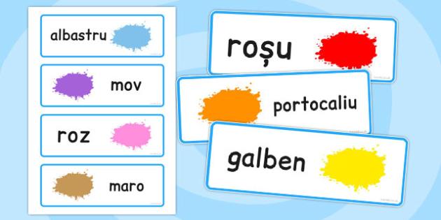 Culori, cartonase cu imagini si cuvinte, Romanian