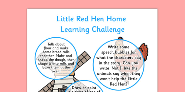 EYFS Little Red Hen Home Learning Challenge Sheet Reception FS2 - little red hen