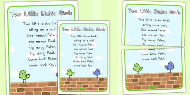 Two Little Dickie Birds Nursery Rhyme Poster - australia, poster