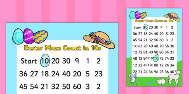 Easter Themed Counting in 10s Maze - easter, counting, math, maze