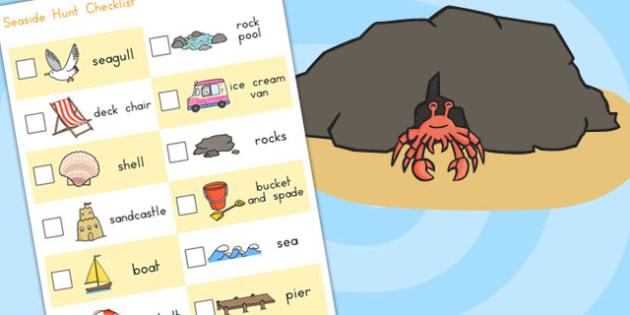 Seaside Hunt Checklist - seaside, sea side, hunt, checklist, list