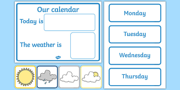 Daily Calendar/Weather Chart - Weather calendar, Weather chart, weather, calendar, months, days, weather display, date display, rain, sun, snow, fog, cloud