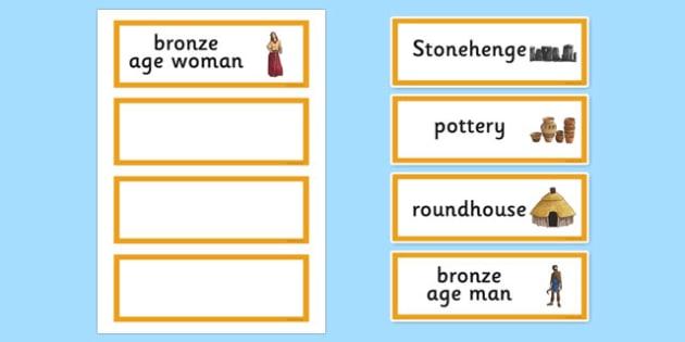 Bronze Age Word Cards - bronze age, word cards, keywords, history