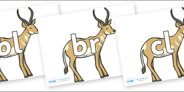 Initial Letter Blends on Antelope - Initial Letters, initial letter, letter blend, letter blends, consonant, consonants, digraph, trigraph, literacy, alphabet, letters, foundation stage literacy