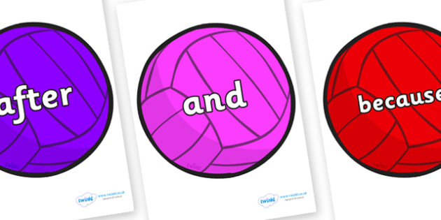 Connectives on Water Polo Balls - Connectives, VCOP, connective resources, connectives display words, connective displays