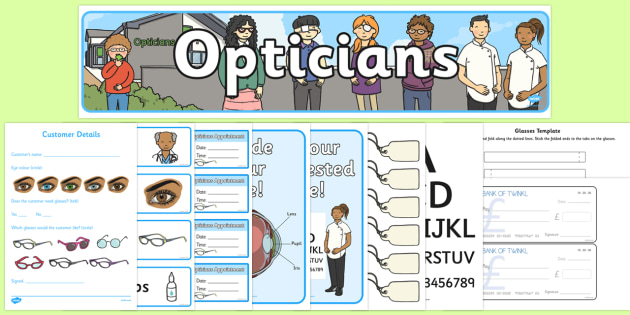 Opticians Role Play Pack - Opticians, optician, eyes, eye, eye doctor, role play, pack, glasses, specs, contact lenses