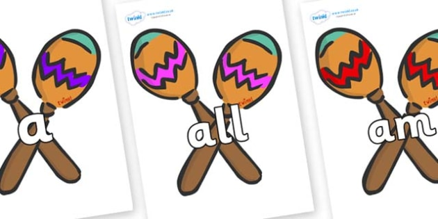Foundation Stage 2 Keywords on Maracas - FS2, CLL, keywords, Communication language and literacy,  Display, Key words, high frequency words, foundation stage literacy, DfES Letters and Sounds, Letters and Sounds, spelling