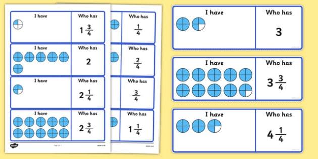 Fractions Loop Cards Quarters - fractions, loop cards, quarters, loop, cards