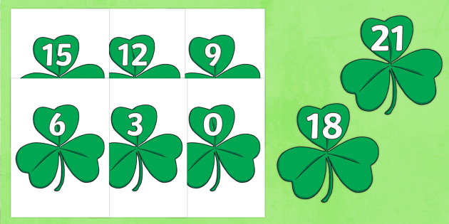 Numbers to 102 (in 3s, on clover leaves) - numbers, to 102, in 3s, counting, activity, numberacy, clover leaves