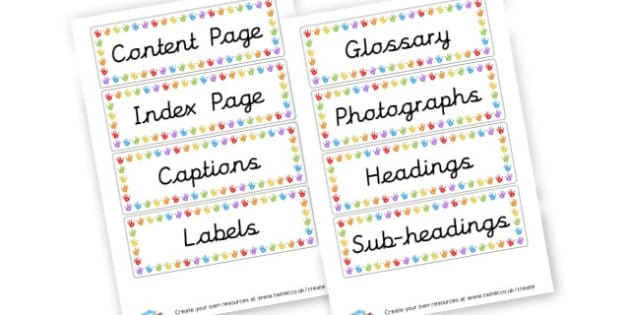 Non-Fiction Feature Words - Reading Visual Aids & Posters Primary Resources, Story, writing