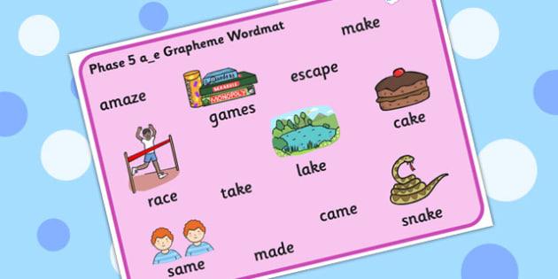Phase 5 a_e Grapheme Word Mat - phase five, graphemes, phases