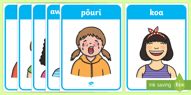 Emotions and Expressions Display Posters - New Zealand, Te Reo, Maori, feelings, emotions, feel,