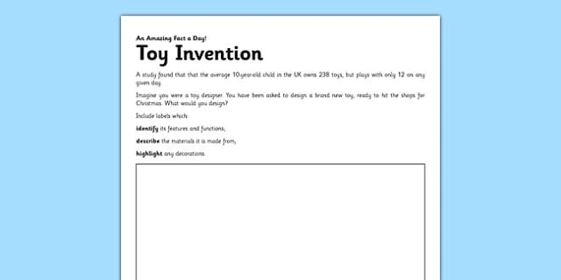 Toy Invention Activity Sheet - design a toy, inventor, toy inventor, worksheet