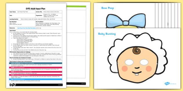 EYFS Knock Knock Knock on the Door to Support Teaching on Each Peach Pear Plum Adult Input Plan and Resource Pack