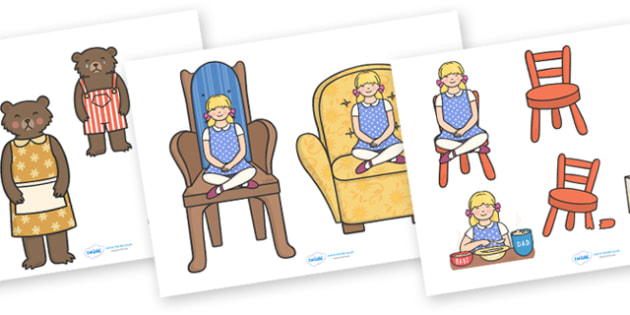 Goldilocks and the Three Bears Story Cut Outs - Goldilocks, cut out, cut outs, traditional tales, tale, fairy tale, three bears, porridge, cottage, beds