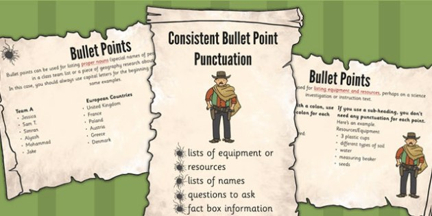 UKS2 Punctuate Bullet Points Consistently Display Pack - pack