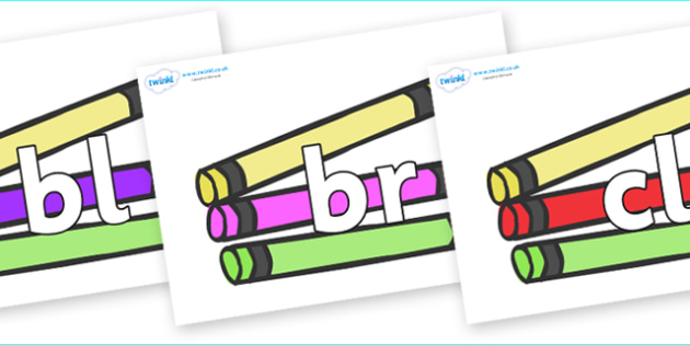 Initial Letter Blends on Crayons - Initial Letters, initial letter, letter blend, letter blends, consonant, consonants, digraph, trigraph, literacy, alphabet, letters, foundation stage literacy