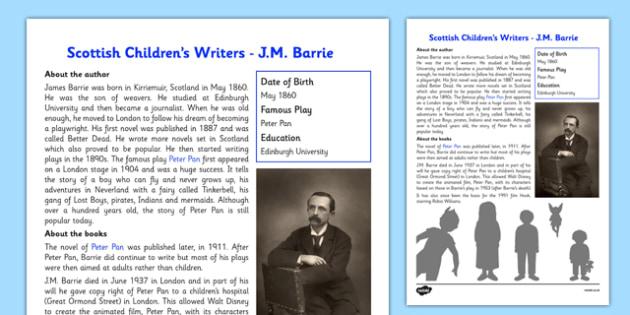 Scottish Children's Writers JM Barrie Information Sheet - CfE, literacy, Scottish Children's writers, J.M Barrie, Peter Pan