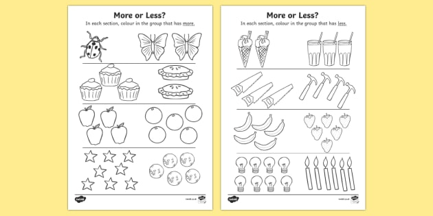 More Or Less Colouring Activity - more or less, quantity, colour, colouring, activity, less, more, less than, more than