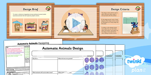 PlanIt - Design and Technology UKS2 - Automata Animals Lesson 4: Designing Lesson Pack - design criteria, functional, appealing