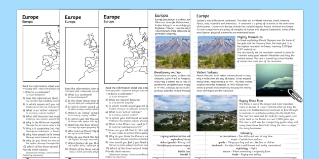 Europe Natural Features Comprehension Activity Sheets English/Polish - Europe Natural Features Reading Differentiated Comprehension Activity - geography, comprehesion, com