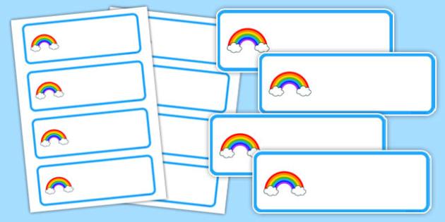 Editable Rainbow Themed Name Labels - editable, rainbow, name, labels