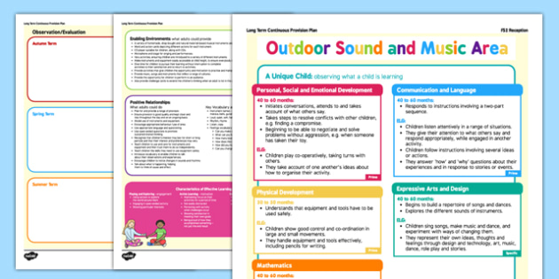 Outdoor Sound and Music Making Area Editable Continuous Provision Plan Reception FS2 - Continuous provision, EYFS planning, early years planning, long term plan