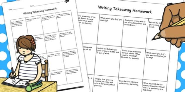 Editable Writing Takeaway Homework - homework, takeaway, writing